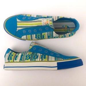 NEW Kitson Blue & Green Striped Sneakers